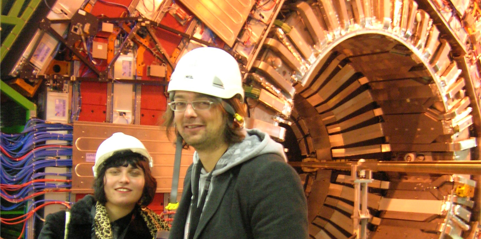 in front of CMS detector LHC CERN